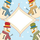 Christmas and New Year card with funny snowmans Royalty Free Stock Images