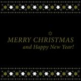 Christmas and New Year card - gold and white stars Royalty Free Stock Photography