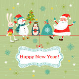 Christmas and New Year card. Royalty Free Stock Photography