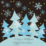 Christmas and New year card. Happy holidays background with firs, snowflakes and snow stock illustration