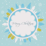 Christmas and New year card. Happy holidays background with snowflakes, snow, houses and fir vector illustration