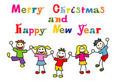 Christmas and new year card with happy kids Royalty Free Stock Photos