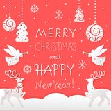 Christmas and New Year card with holiday symbols stock illustration