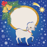 Christmas and New year card with sheep. Sheep a symbol of New year 2015. Beautiful background with bells, star and frame for your text. Colorful vector stock illustration