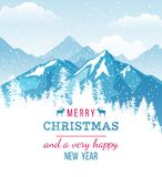 Christmas and New Year card with landscape. Christmas and New Year card on Xmas background with winter landscape, mountains and snowfall. Vector Illustration Stock Photography