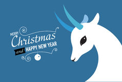 Christmas and New year card for 2015. Merry Christmas and Happy new year card for 2015 year of Goat and Sheep Royalty Free Stock Photography