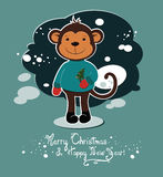 Christmas and New Year card with monkey. Funny cartoon monkey holds christmas tree in hands and wish you a Merry Christmas and Happy New Year royalty free illustration