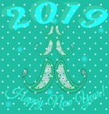 Christmas,New Year card with picture of stylish tree of paisley ornament and snow flakes. Vector illustration in pastel tones. Can be used for the design of Royalty Free Illustration