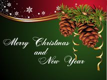 Christmas and new year card with pinecone Stock Images