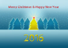 Mery Christmas and Happy New Year 2016 greeting card Stock Images