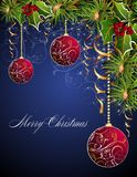 Christmas and New Year card with red balls Stock Image