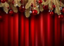 Christmas and New Year card with red Christmas balls. Christmas and New Year shiny card with fir branches and Christmas balls on red satin textile backdrop stock illustration