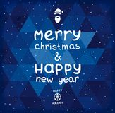 Christmas and New year card. Christmas and New Year's greetings to the geometric blue background. Vector eps 10 vector illustration