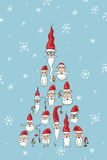 Christmas, New Year card.Santa faces in fir shape Stock Photo