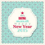 Christmas and new year card in shabby chic style. Vector illustration, eps 10 with transparency Stock Image