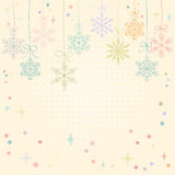 Christmas and New Year card with snowflakes, stylized holiday card with  hanging snowflakes Stock Image
