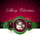 Christmas and New Year card with snowman Stock Image