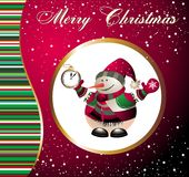 Christmas and new year card with snowman Royalty Free Stock Image