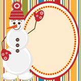 Christmas and New Year card with snowman Royalty Free Stock Photo