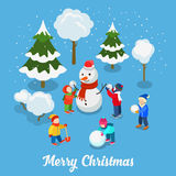 Christmas New Year card snowman children flat isometric vector Royalty Free Stock Photo