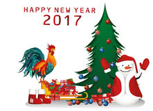 Christmas and New Year card. Snowman with gifts. Under the Christmas tree and Christmas balls. Sledge of Santa Claus and rooster symbol of 2017 royalty free illustration