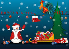 Christmas and New Year card. Snowman with gifts. Under the Christmas tree and Christmas balls. Sledge of Santa Claus and rooster symbol of 2017 vector illustration
