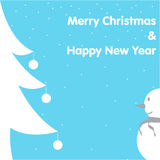 Christmas & New Year Card Snowman Tree on Blue Background Royalty Free Stock Image