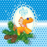 Christmas and New Year card with soft horse toy an Stock Photos