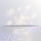 Christmas and New Year card template. Abstract snowflakes paper 3D. Beautiful Christmas and New Year card template. Vector illustration, winter background Stock Images