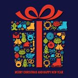 Christmas and New Year card template. Christmas and New Year greeting card template with a selection of coloruful seasonal silhouette icons arranged in the shape Stock Images