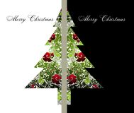 Christmas and New Year card with tree Stock Photography