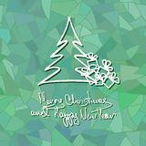 Christmas and New Year card with tree and gifts. Christmas or New Year card with tree and gift on frost mosaic background vector illustration