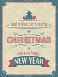 Christmas and New Year card in vintage style with christmas balls, christmas tree and snowflakes Royalty Free Stock Photography