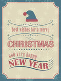 Christmas and New Year card in vintage style with christmas hat and ornate elements Stock Image