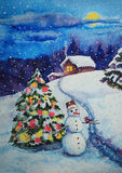 Christmas and New Year card watercolor painting Stock Image