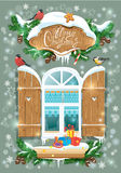 Christmas and New Year card with wooden frosty window Royalty Free Stock Image