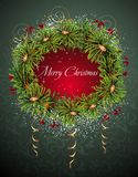 Christmas and New Year card with wreath Stock Photography