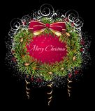 Christmas and New Year card with wreath Royalty Free Stock Photo