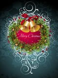 Christmas and New Year card with wreath. Wreath  background christmas holly new star bow Royalty Free Stock Photo