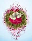 Christmas and New Year card with wreath. Wreath  background christmas holly new star bow Stock Images