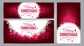 Christmas And New Year cards with Typographical on shiny Xmas background. Vector Illustration. Set of Xmas Royalty Free Stock Image