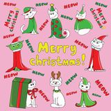 Christmas new year cats vector illustration