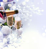 Christmas and New Year celebration. With champagne Stock Image