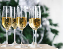 Christmas or New Year Celebration. Champagne near the Christmas tree Stock Image