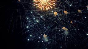 Christmas New Year celebration fireworks. 4K. Christmas New Year celebration fireworks