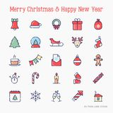 Christmas and New Year celebration line icons set. Christmas and New Year celebration thin line icons set: decoration, deer, gifts, calendar, snowman, snow globe Stock Photos