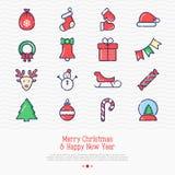 Christmas and New Year celebration set. Christmas and New Year celebration thin line icons set: decoration, deer, gifts, calendar, snowman, snow globe, sled, fir Royalty Free Stock Photos