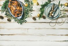 Christmas or New Year celebration table setting, copy space royalty free stock photo