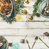Christmas or New Year celebration table setting with roasted chicken Stock Photos