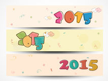 Christmas and New Year 2015 celebration web header or banner. Website header or banner set with colorful text of 2015 for Happy New Year and Merry Christmas Stock Photo